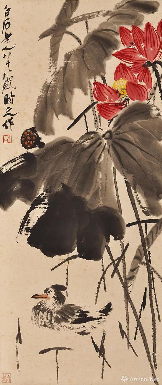 齐白石《荷花小禽》 1952年作  纸本设色 44×103厘米